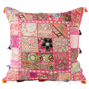 Pink Patchwork Boho Sofa Colorful Throw Bohemian Pillow Couch Cushion Cover with Shells - 24""