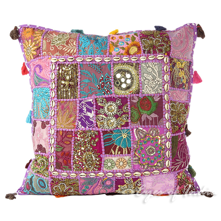 Purple Colorful Decorative Boho Couch Pillow Cushion Bohemian Sofa Throw Cover with Shells - 24""