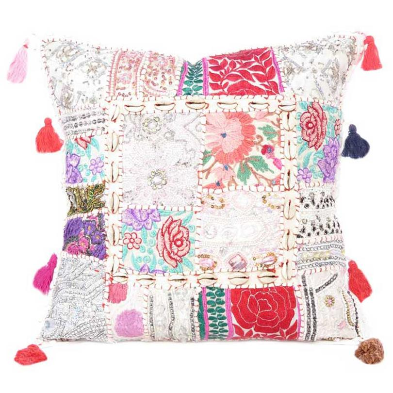 """White Patchwork Colorful Decorative Boho Sofa Throw Couch Pillow Cushion Cover with Shells - 24"""""""