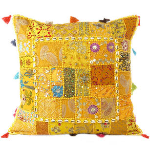 Yellow Patchwork Decorative Bohemian Throw Pillow Cushion Cover with Shells - 24""
