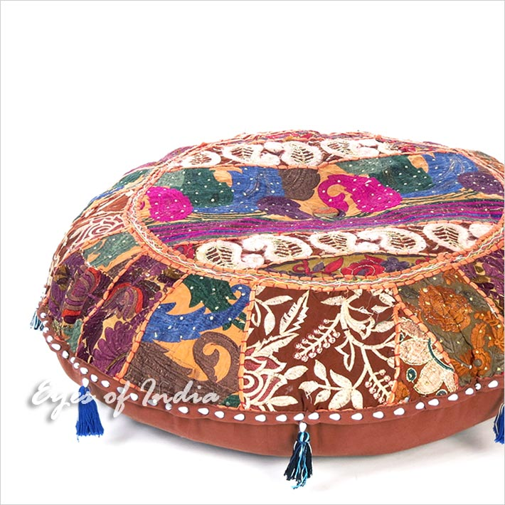 Brown Patchwork Round Boho Bohemian Throw Colorful Floor Seating Pillow Meditation Cushion Cover - 32""