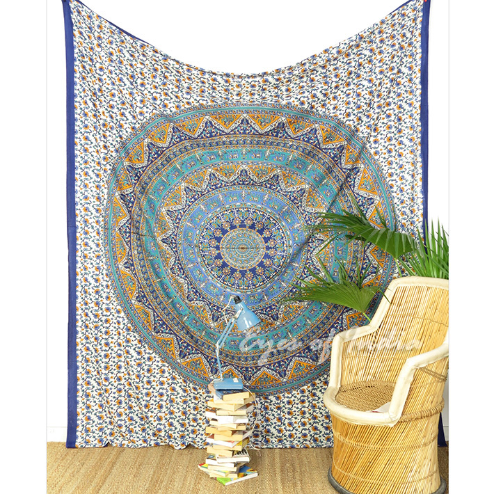 Elephant Hippie Mandala Tapestry Bohemian Bedspread Wall Hanging - Large/Queen