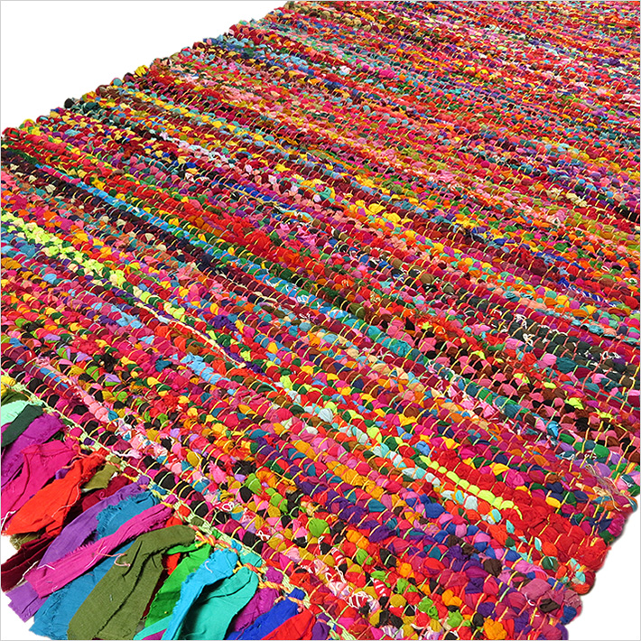 Bright Colorful Decorative Chindi Bohemian Boho Rag Rug   2 X 3 Ft, 3 X