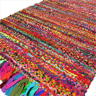 Bright Colorful Decorative Chindi Bohemian Boho Rag Rug - 2 X 3 ft, 3 X 5 ft