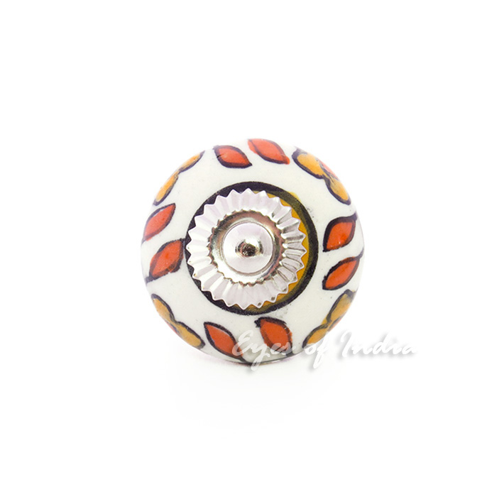 Orange Ceramic Cupboard Cabinet Door Dresser Knobs Pulls Decorative Shabby Chic