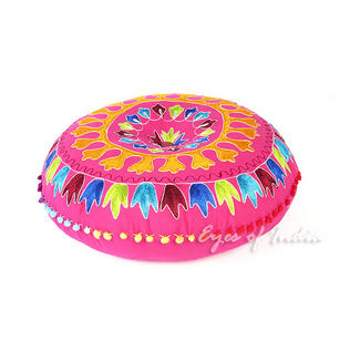 Pink Embroidered Boho Decorative Round Colorful Floor Seating Pillow Meditation Cushion Cover - 24""