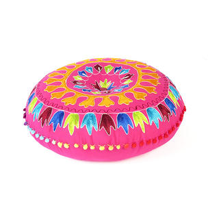 Pink Orange Blue Embroidered Boho Decorative Round Colorful Floor Pillow Meditation Cushion Cover - 24""