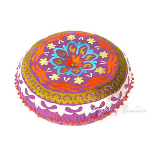 Purple Boho Suzani Decorative Round Colorful Floor Pillow Meditation Cushion Bohemian Seating Cover - 24""