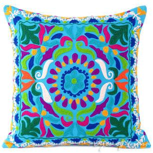 Blue Embroidered Colorful Decorative Boho Sofa Couch Cushion Pillow Bohemian Throw Cover - 16""