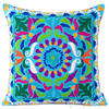 "Blue Embroidered Decorative Boho Sofa Couch Cushion Pillow Bohemian Throw Cover - 16"" 1"