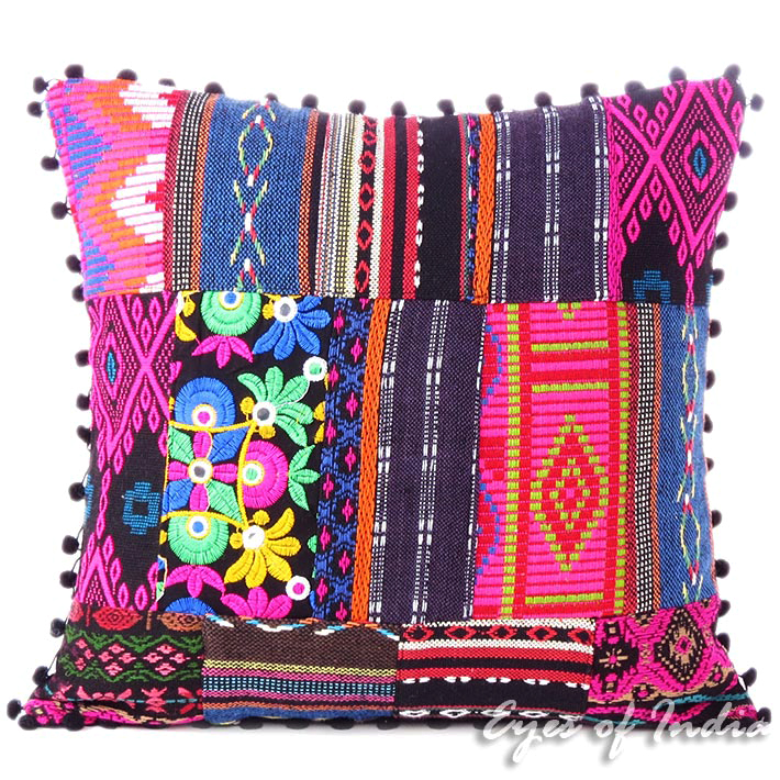 Pink Black Dhurrie Patchwork Colorful Decorative Sofa Throw Boho Cushion Couch Pillow Cover - 16,