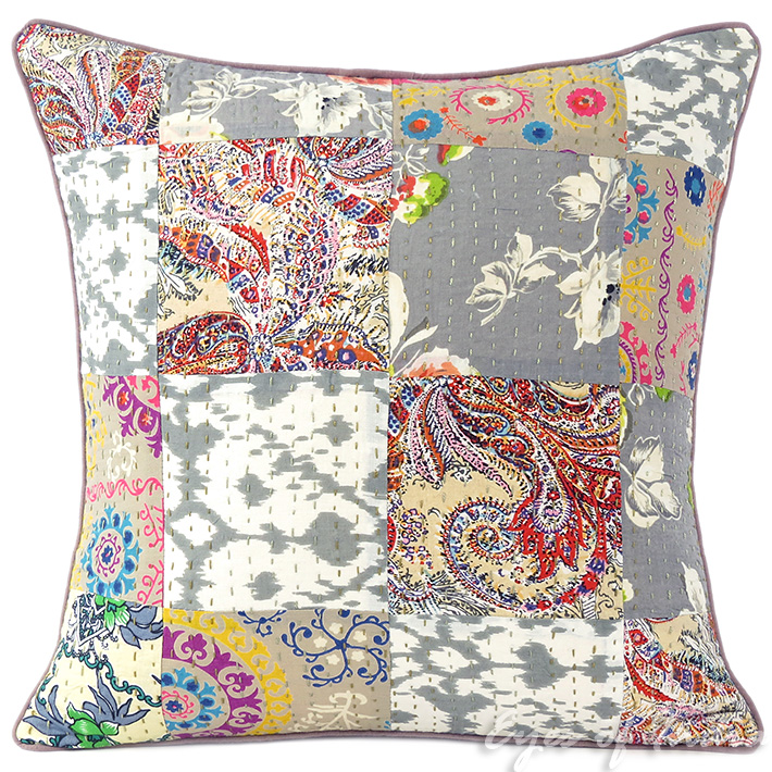 Grey Gray Kantha Decorative Bohemian Sofa Throw Pillow Boho Couch Cushion  Cover- 16