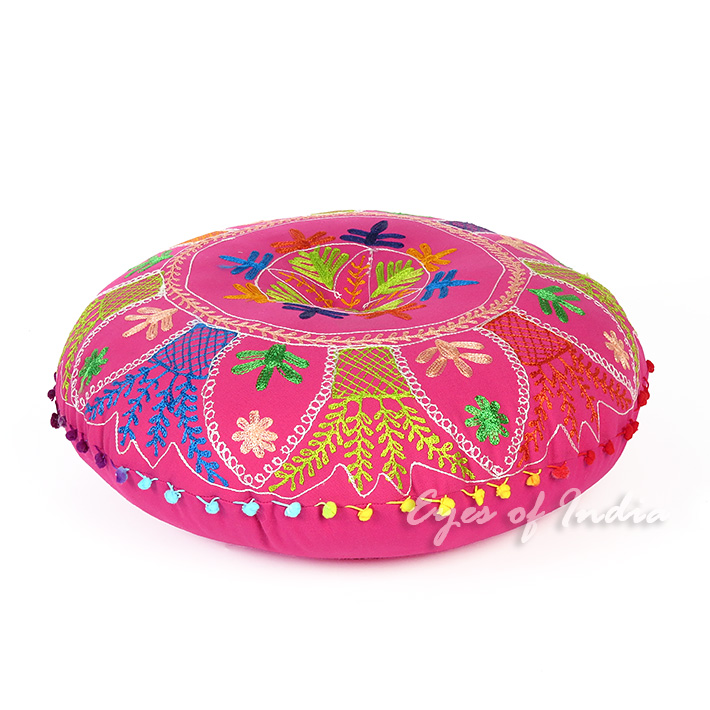 Pink Boho Embroidered Decorative Round Colorful Floor Pillow Meditation Cushion Seating Cover - 24""
