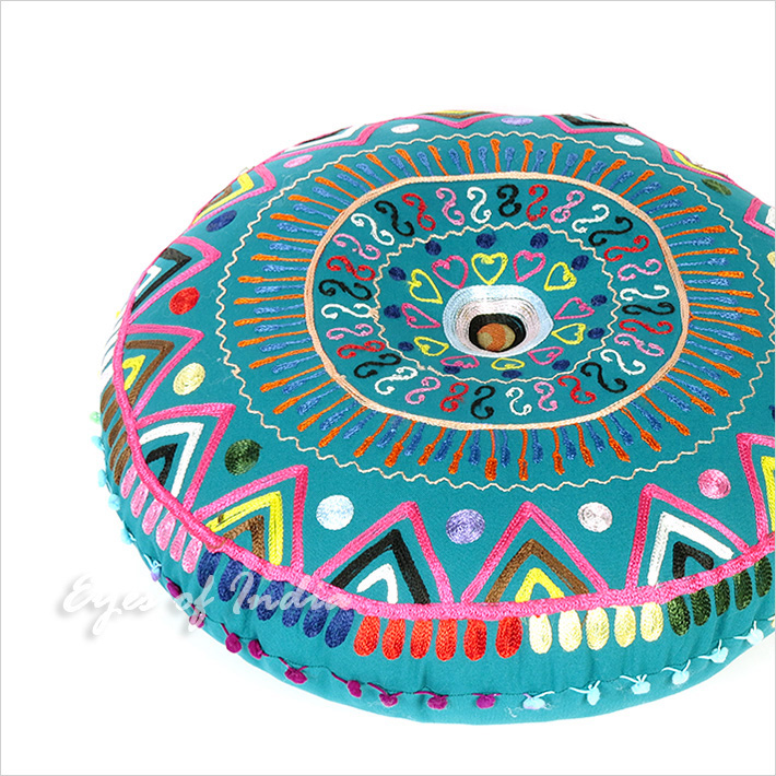 """Teal Blue Green Pink Round Decorative Colorful Floor Cushion Meditation Pillow Seating Throw Cover - 24"""""""