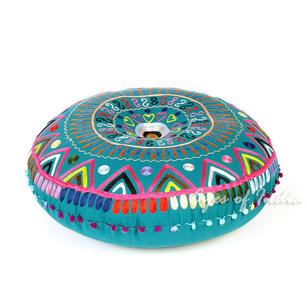Teal Blue Green Round Decorative Colorful Floor Cushion Meditation Pillow Seating Throw Cover - 24""