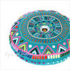 "Teal Blue Green Pink Round Decorative Colorful Floor Cushion Meditation Pillow Seating Throw Cover - 24"" 2"