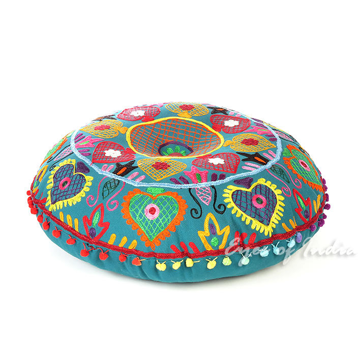 Teal Blue Green Embroidered Seating Boho Round Floor