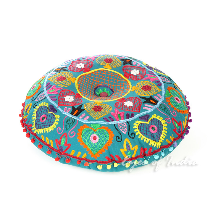 Teal Blue Green Embroidered Seating Boho Round Floor Meditation Pillow Cushion Pouf Cover - 24""