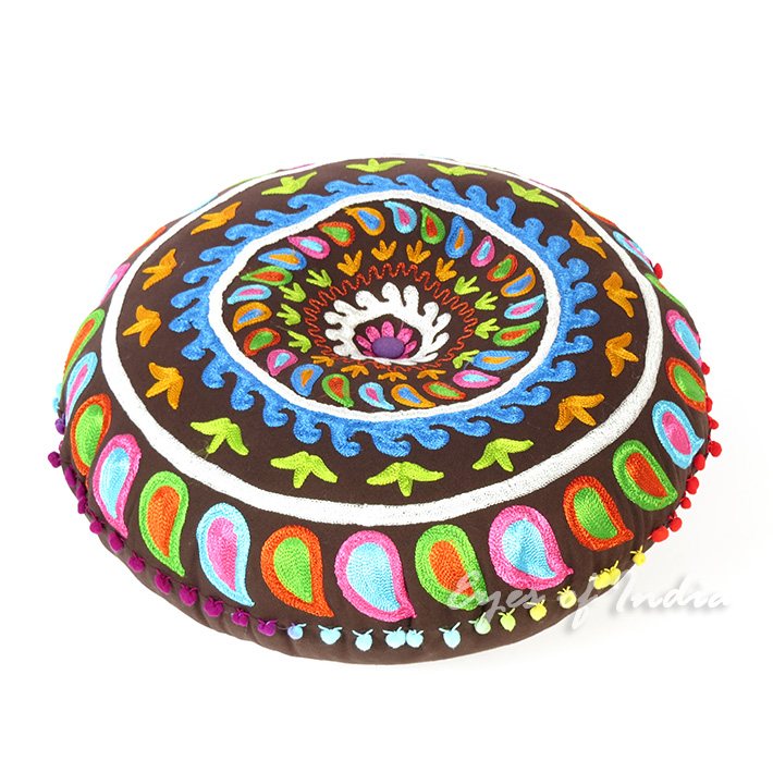 """Brown Round Decorative Seating Colorful Floor Cushion Boho Throw Meditation Pillow Pouf Cover - 24"""""""