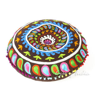 Brown Round Bohemian Decorative Seating Floor Cushion Boho Throw Meditation Pillow Pouf Cover - 24""