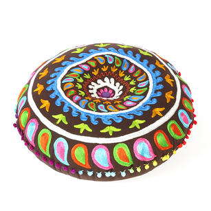 Brown Round Decorative Seating Colorful Floor Cushion Boho Throw Meditation Pillow Pouf Cover - 24""