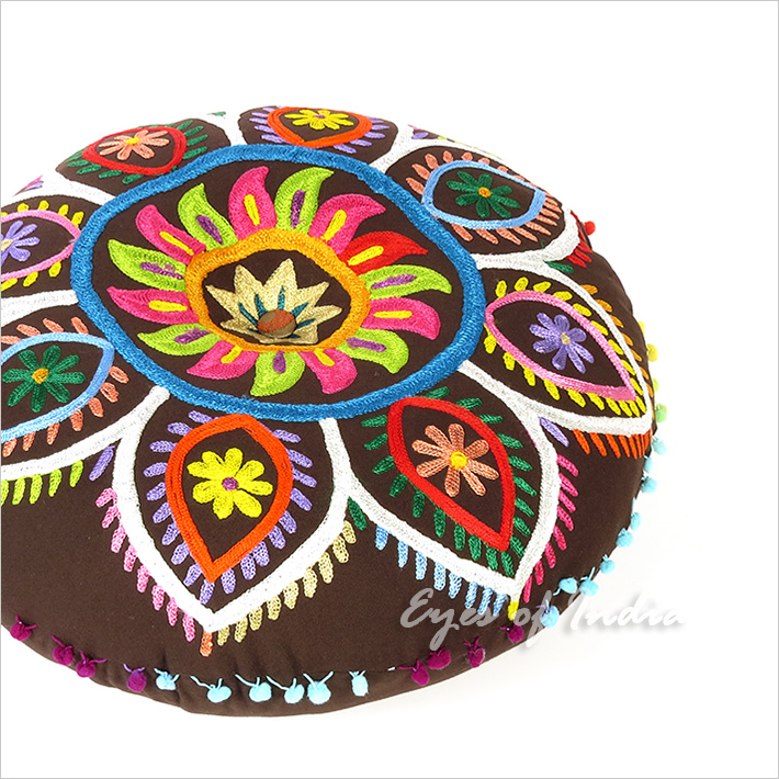 Brown Boho Embroidered Decorative Seating Bohemian Round Floor Pillow Meditation Cushion Pouf Cover - 24""