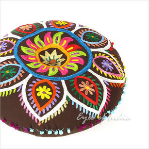 Brown Boho Embroidered Decorative Seating Bohemian Floor Pillow Meditation Cushion Pouf Cover - 24""