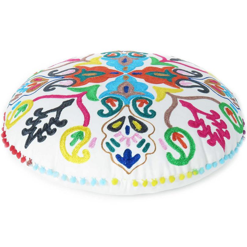 "White Round Colorful Boho Decorative Floor Seating Meditation Cushion Bohemian Pillow Cover - 24"""