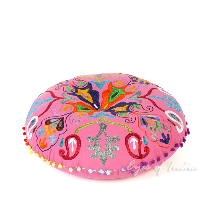 Pink Embroidered Decorative Boho Round Colorful Floor Meditation Pillow Cushion Seating Cover - 24""