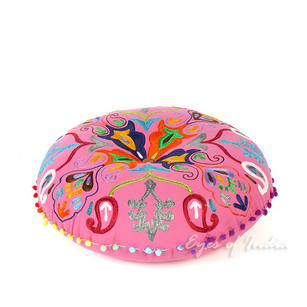 Pink Bohemian Embroidered Decorative Boho Round Colorful Floor Meditation Pillow Cushion Seating Cover - 24""