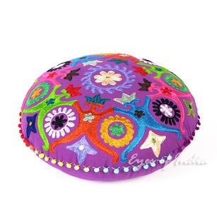 Purple Round Bohemian Decorative Floor Meditation Cushion Pillow Boho Seating Cover - 24""