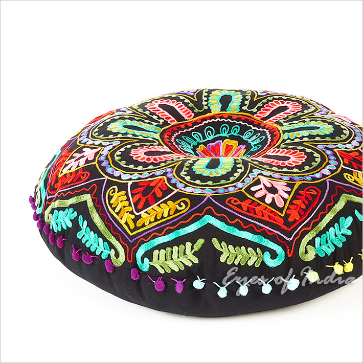 Black Embroidered Floor Cushion, with bright, multicoloured ...