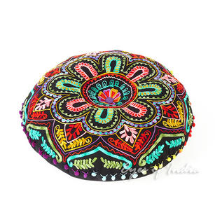 Black Embroidered Boho Decorative Seating Round Floor Pillow Meditation Cushion Bohemian Pouf Cover - 24""