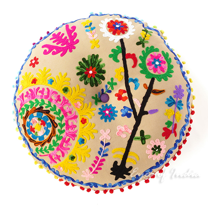Brown Beige Round Decorative Seating Boho Colorful Floor Meditation Cushion Pillow Pouf Cover - 24""