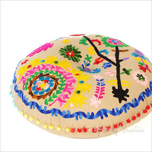 Brown Beige Round Decorative Seating Boho Floor Meditation Cushion Bohemian Pillow Pouf Cover - 24""