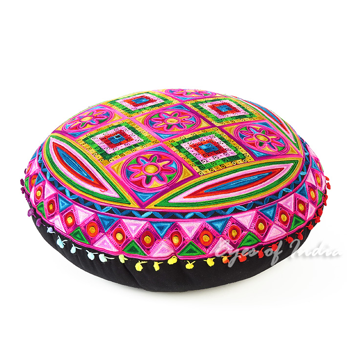 Pink Boho Embroidered Decorative Seating Bohemian Round Floor Meditation Cushion Pillow Pouf Cover - 24""