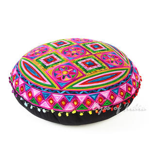 Pink Boho Embroidered Decorative Seating Bohemian Floor Meditation Cushion Pillow Pouf Cover - 24""