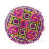 "Pink Boho Embroidered Decorative Seating Bohemian Round Floor Meditation Cushion Pillow Pouf Cover - 24"" 2"
