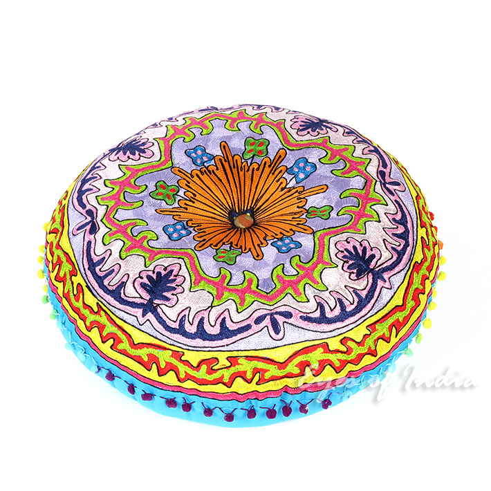 Blue Round Bohemian Decorative Seating Booklore Meditation Cushion Pouf Pillow Throw Cover - 24""