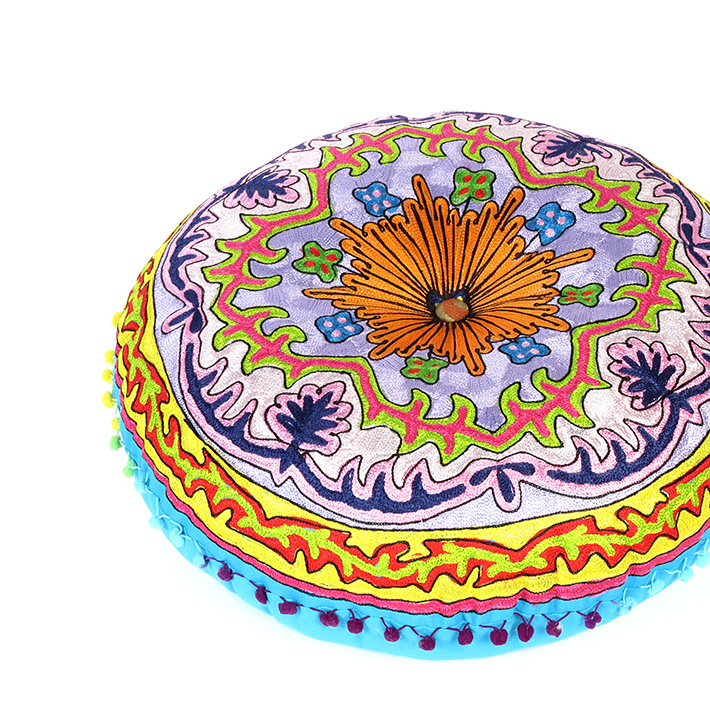 """Blue Round Bohemian Decorative Seating Booklore Meditation Cushion Pouf Pillow Throw Cover - 24"""""""