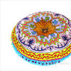 "Blue Round Bohemian Decorative Seating Booklore Meditation Cushion Pouf Pillow Throw Cover - 24"" 3"