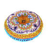 """Blue Round Bohemian Decorative Seating Booklore Meditation Cushion Pouf Pillow Throw Cover - 24"""" 2"""
