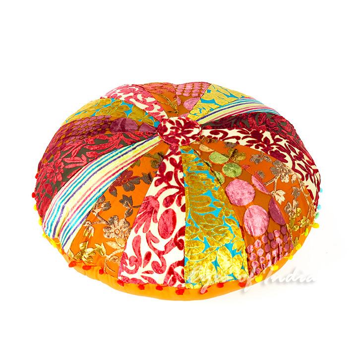 Bohemian Velvet Floor Pillow in Orange & Red | Embroidered Pillows ...