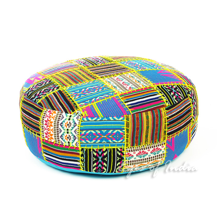 Black and Yellow Bohemian Dhurrie Round Pouf Pouffe Boho Ottoman Cover - 24 X 8""