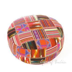"""Orange Patchwork Round Dhurrie Bohemian Boho Ottoman Pouf Pouffe Cover - 24 X 8"""""""