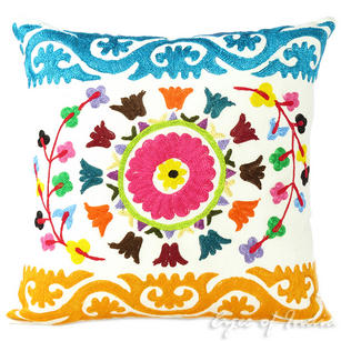 White Embroidered Colorful Decorative Bohemian Sofa Couch Cushion Throw Boho Pillow Cover - 16""