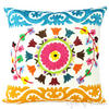 "White Embroidered Colorful Decorative Bohemian Sofa Couch Cushion Throw Boho Pillow Cover - 16"" 1"