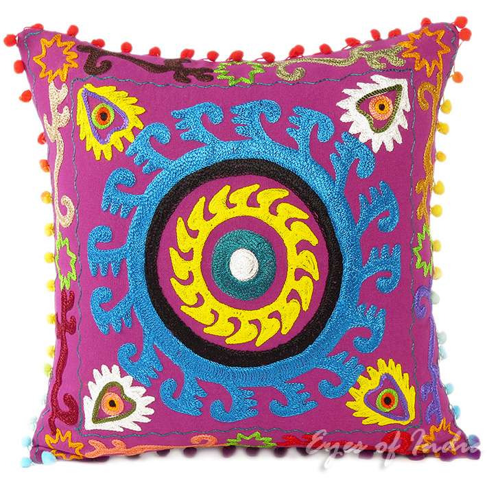 Purple Colorful Decorative Embroidered Sofa Throw Bohemian Pillow Couch Cushion Cover - 16""