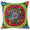 "Black Green Red Embroidered Colorful Decorative Couch Throw Pillow Sofa Cushion Cover - 16"" 3"