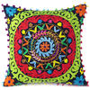 "Black Green Red Embroidered Colorful Decorative Couch Throw Pillow Sofa Cushion Cover - 16"" 1"